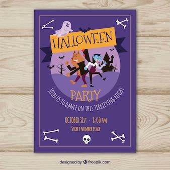 Cartel morado de fiesta de halloween con personajes