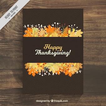 Cartel negro con hojas para el día de acción de gracias