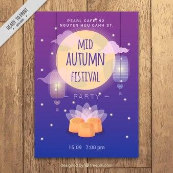 Cartel para el festival del medio otoño con una flor y la luna