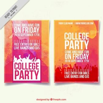 Cartel para fiesta universitaria con acuarelas rojas