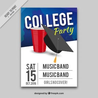 Cartel para fiesta universitaria con música en directo