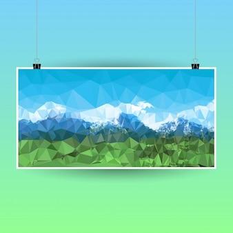 Cartel poligonal con un paisaje de montaña