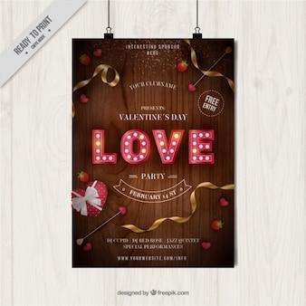 Cartel realista de fiesta para el día de san valentín