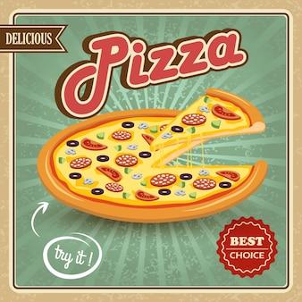 Cartel retro de la pizza