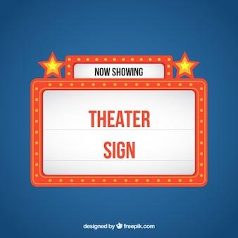 Cartel retro luminoso de teatro