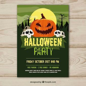 Cartel verde de fiesta de halloween con calabaza y calaveras