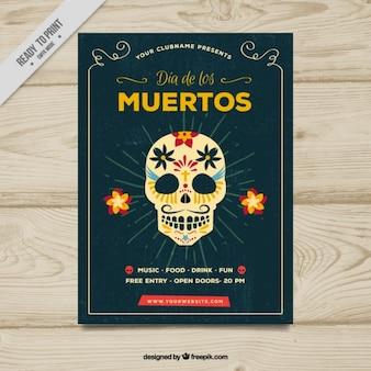 Cartel vintage de calavera mexicana
