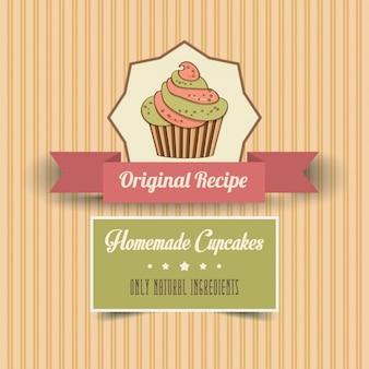 Cartel vintage de cupcakes hechos a mano