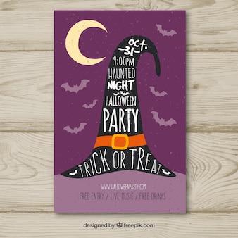 Cartel vintage de fiesta de halloween con sombrero de bruja