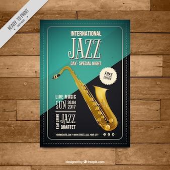 Cartel vintage elegante de evento de jazz