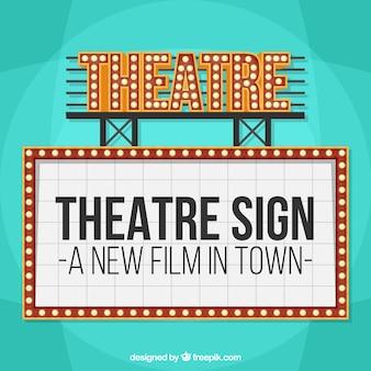 Cartel vintage luminoso de teatro
