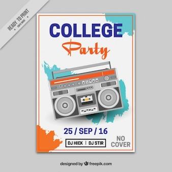 Cartel vintage para una fiesta universitaria