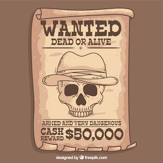 Cartel western se busca con boceto de calavera
