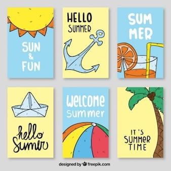 Carteles con elementos del verano