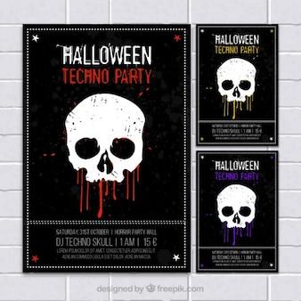 Carteles de Halloween en el estilo grunge