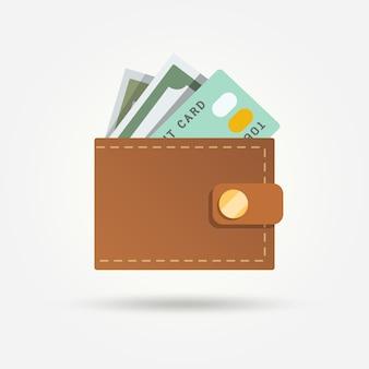 Cartera con billete y tarjeta de crédito en diseño plano