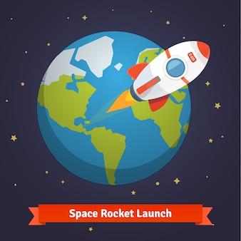 Cartoon cohete espacial dejando órbita de tierra