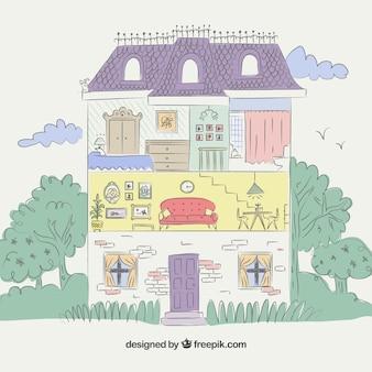 Casa coloreada con vista en corte