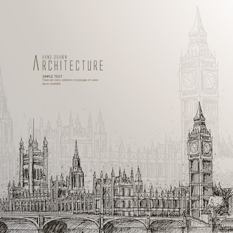 Casa del parlamento dibujadas a mano
