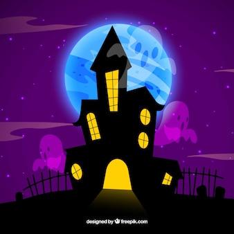 Casa encantada con fantasmas y cementerio
