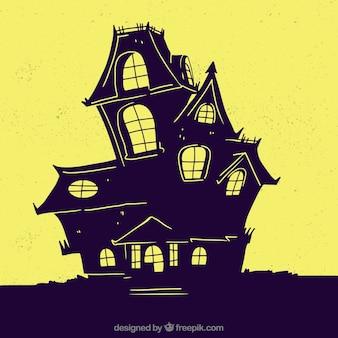 Casa espeluznante con estilo de dibujo a mano