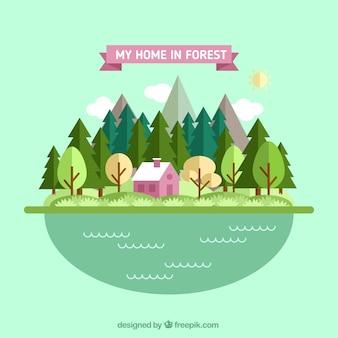 Casa rosada en el bosque