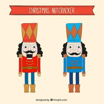 Cascanueces navideños dibujados a mano