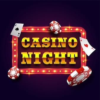 Casino Noche placa de signo retro con fichas de póquer.