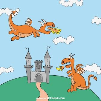 Castillo de cuento de hadas con dragones