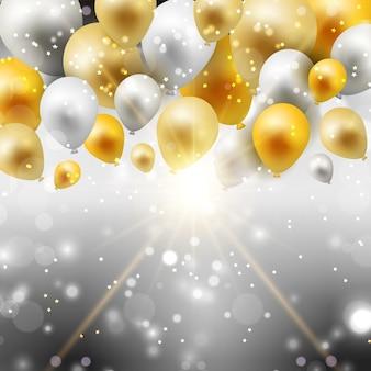 Celebración de fondo con globos de oro y plata