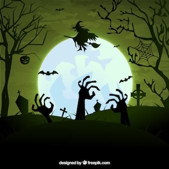 Cementerio escalofriante de halloween