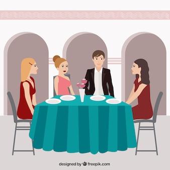 Cena con amigos en un restaurante