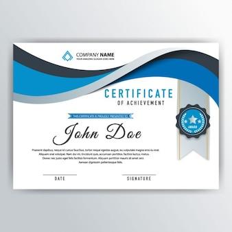 Certificado abstracto azul