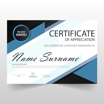 Certificado azul horizontal de apreciación