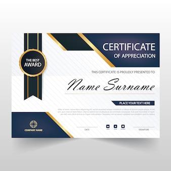 Certificado azul oscuro horizontal de apreciación
