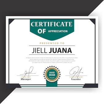 Certificado blanco y verde