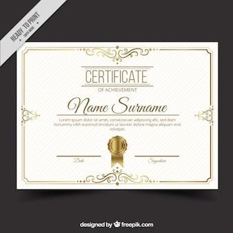 Certificado con detalles dorados