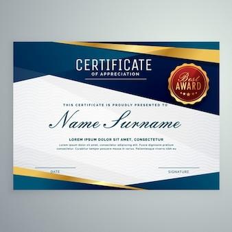 Certificado con formas geométricas azules y líneas doradas