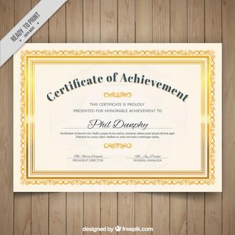 Certificado con marco ornamental dorado