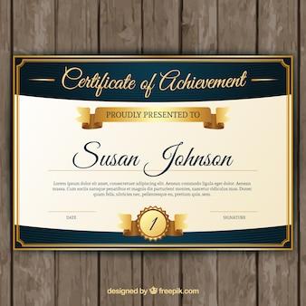 Certificado de aprovechamiento con elementos dorados clásicos