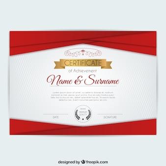 Certificado de formas geométricas de color rojo