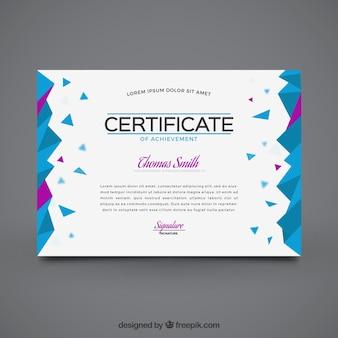 Certificado de graduación geométrico con detalles morados