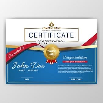 Certificado de lujo azul