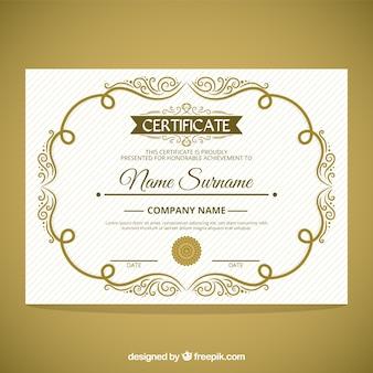 certificado de marco ornamental linda