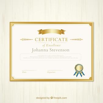 Certificado de oro de la excelencia