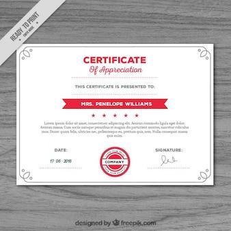 Certificado de reconocimiento con detalles en rojo