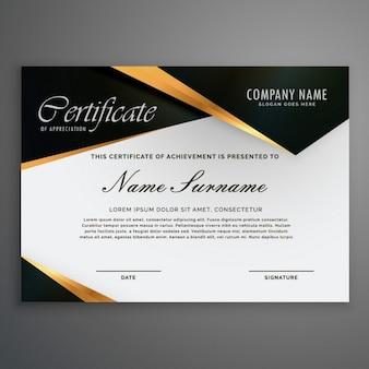 Certificado decorado con formas negras y líneas doradas