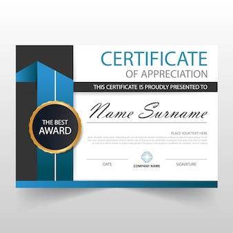 Certificado elegante azul horizontal