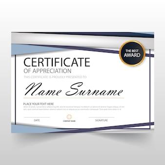 Certificado elegante horizontal de apreciación