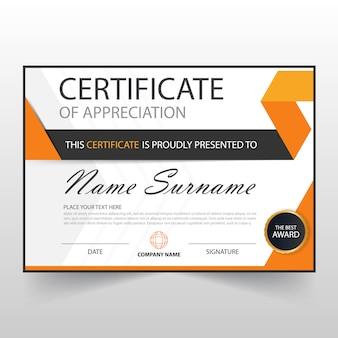 Certificado elegante naranja horizontal